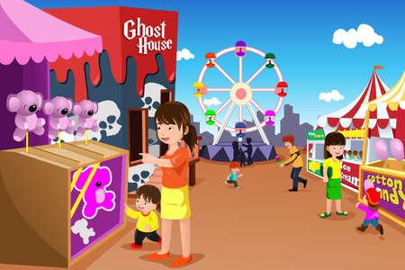 Una ilustración vectorial de los niños y sus padres que se divierte en un parque de diversiones