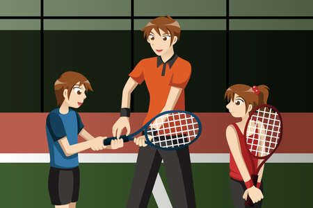 fitness instructor: A vector illustration of Kids in a tennis club with the instructor