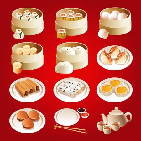 Ilustracji wektorowych z dim sum zestawów ikon
