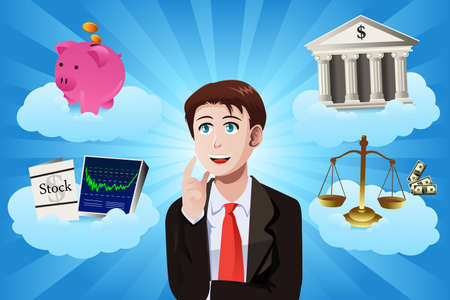 A vector illustration of businessman with financial items concept Ilustrace