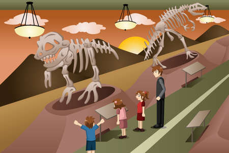A vector illustration of kids on a field trip to a museum Ilustracja