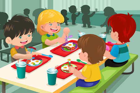 Una ilustración vectorial de los estudiantes de primaria que comen el almuerzo en la cafetería