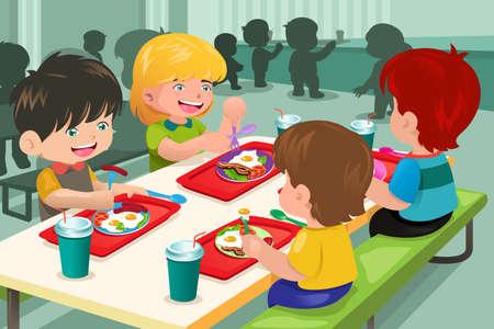 comer sano: Una ilustraci�n vectorial de los estudiantes de primaria que comen el almuerzo en la cafeter�a