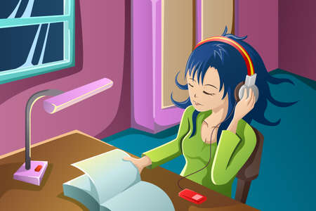 A vector illustration of beautiful girl reading a book while listening to music in her bedroom Vector