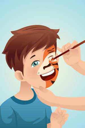 귀여운 소년의 벡터 일러스트 레이 션 그의 얼굴은 호랑이 색칠 한 일러스트