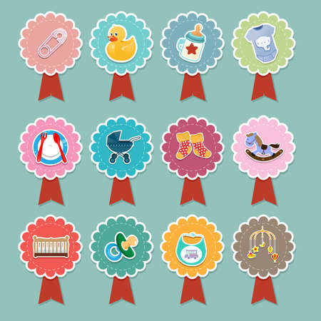 A vector illustration of baby items icon designs Vector
