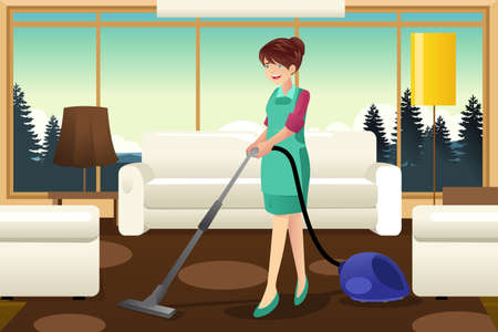 A vector illustration of professional maid vacuuming carpet in the living room