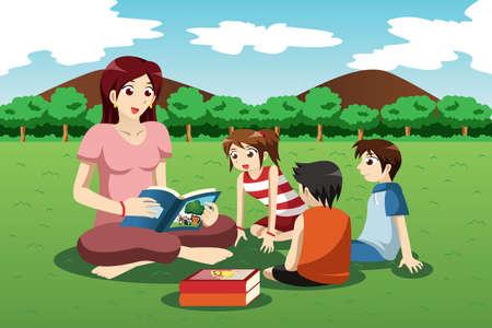 Een vector illustratie van leraar leesboek voor kinderen kleuterschool in het park