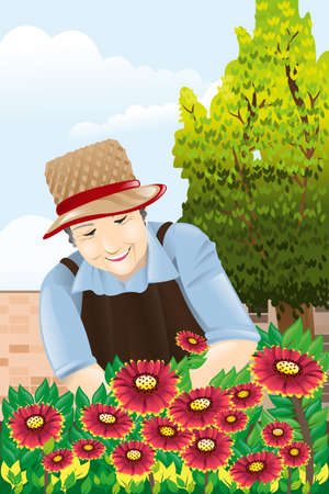 A vector illustration of beautiful senior woman gardening