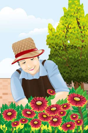 A vector illustration of beautiful senior woman gardening