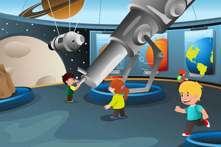 A vector illustration of happy kids on field trip to a planetarium Çizim