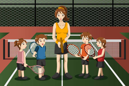 instructor: A vector illustration of kids in a tennis club with the instructor