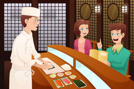 Una ilustración vectorial de clientes que hayan pedido sushi en un restaurante