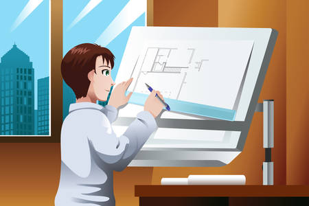 architect office: A vector illustration of architect working on blueprint in the office