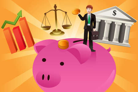 A vector illustration of businessman with financial items concept Vector