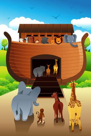 historias biblicas: Una ilustraci�n del vector del Arca de No�