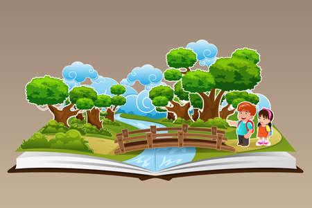 traino: Una illustrazione vettoriale di pop up libro con un tema della foresta