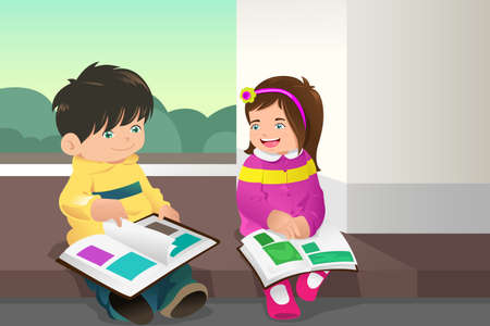A vector illustration of two kids reading a book together
