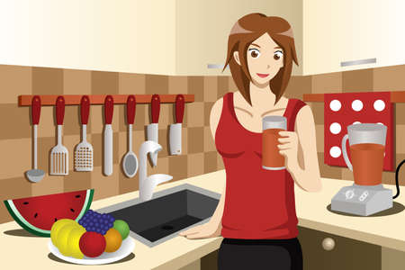 A vector illustration of healthy woman drinking fruit juice in the kitchen Vector