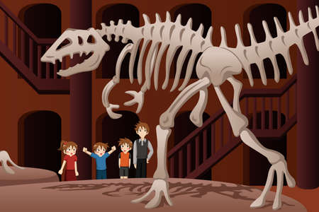 A vector illustration of kids on a field trip to a museum Vector