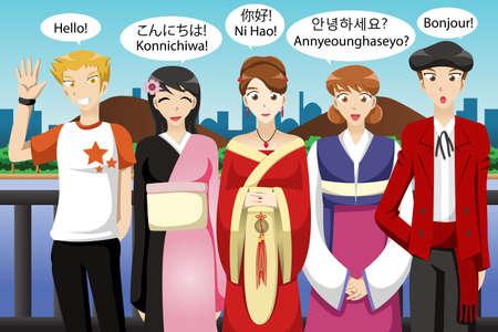 Een vector illustratie van het multi-etnische mensen uit verschillende culturen hallo zeggen Stock Illustratie