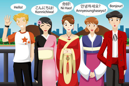 gente saludando: Una ilustración vectorial de pueblo multiétnico de diferentes culturas que dice hola