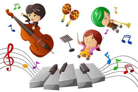 enfant  garcon: Une illustration de vecteur d'enfants heureux en appr�ciant la musique de jeu Illustration