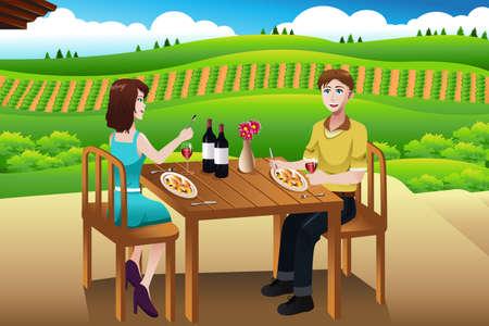 pareja comiendo: Una ilustración vectorial de par de comer almuerzo al aire libre en una bodega