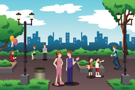 A vector illustration of people in a city park doing everyday stuff Illustration