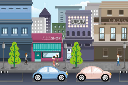city building: A vector illustration of city life