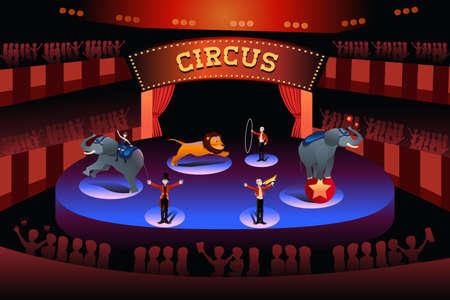 circo: Una ilustración vectorial de funcionamiento del circo Vectores