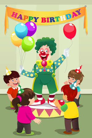 A vector illustration of Clown carrying balloons to kids birthday party