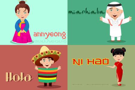 Una ilustración vectorial de pueblo multiétnico de diferentes culturas que dice hola