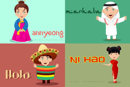 A vector illustration of multi-ethnic people from different cultures saying hello  Vectores