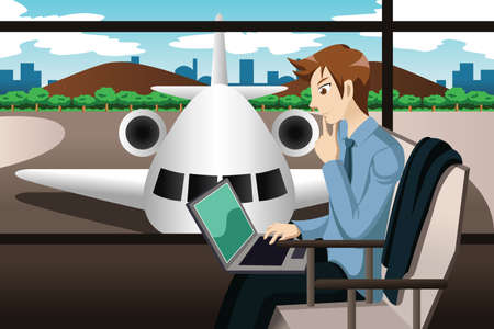A vector illustration of business traveler working on his laptop while waiting in the airport Vectores