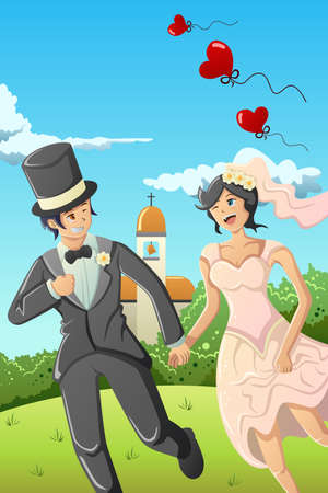 A vector illustration of bride and groom running in the garden Vector
