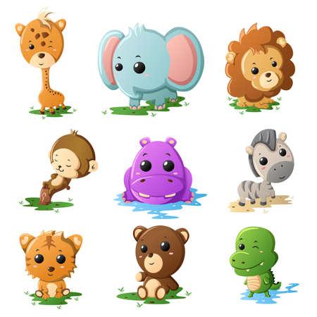 animales de la selva: Una ilustración vectorial de iconos de animales de vida silvestre de la historieta Vectores