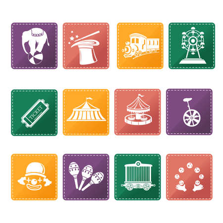 circus caravan: illustration of circus icon sets