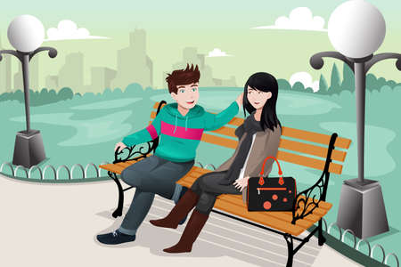 city park: illustration of romantic couple sitting in the park
