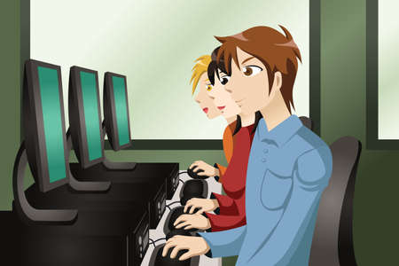 illustration of college students in a computer lab Illustration