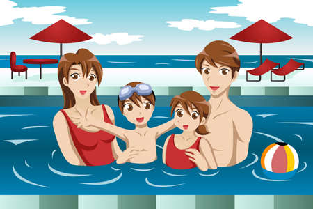 young boy in pool: illustration of happy family having fun in a swimming pool