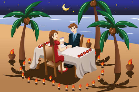 illustration of happy couple having romantic candle light dinner in the beach
