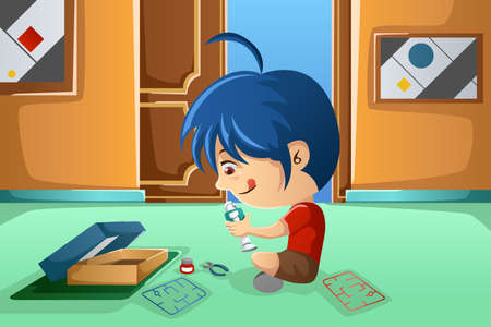 illustration of cute boy assembling robot in his bedroom