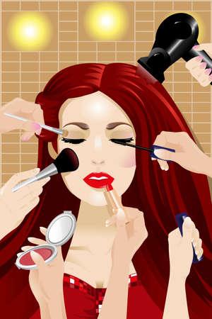 女性の頭の上に化粧を適用する多くの手の図