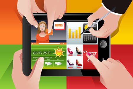 using tablet: illustration of people using tablet PC