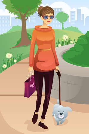 dog park: illustration of modern woman walking with her dog in the park Illustration