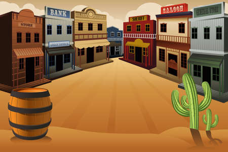 old cowboy: illustration of old western town