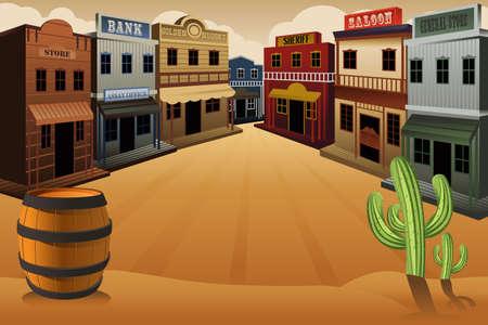 krajina: ilustrace staré westernové městečko Ilustrace