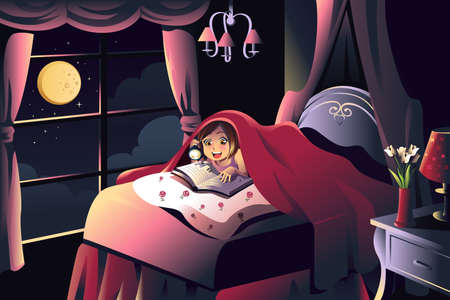 flash light: illustration of little girl reading a book in the bedroom under a blanket using a flash light