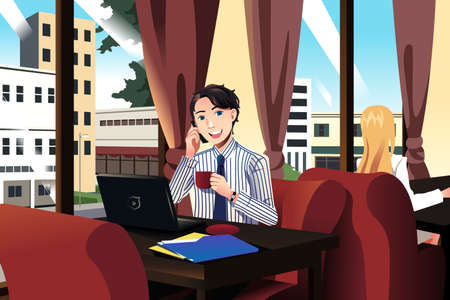 illustration of businessman talking on the phone while having coffee in a cafe Vector